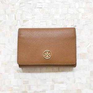 Tory Burch Brown Leather Medium Tri-Fold Wallet
